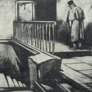 Devushkin on stairs. Illustration to Poor people