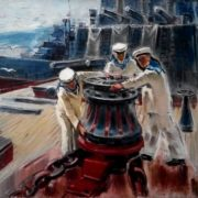 Everyday work on a ship. 1977-1978. Oil, canvas