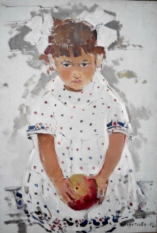 Girl with an apple. 1962, oil on canvas