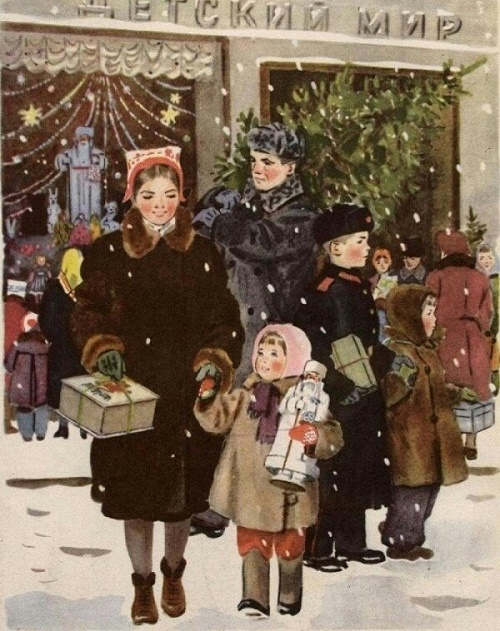 Illustration by Soviet artist Tatyana Yeryomina, member of the USSR Union of artists. On New Year eve. 1953