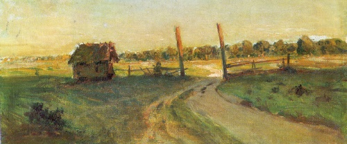 Isaak Levitan. 1860-1900. Landscape with a peasant hut. 1899. Study for the Summer Evening (1899, Tretyakov Gallery, Moscow)