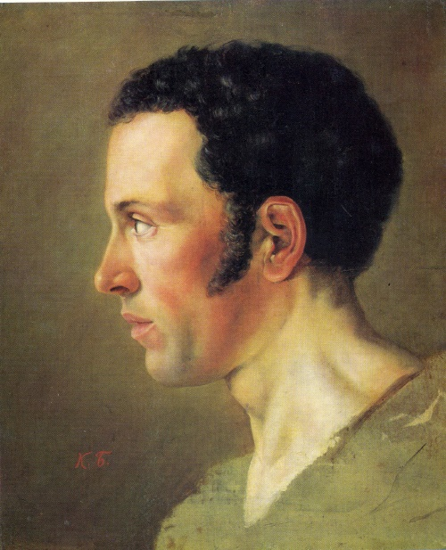 Karl Briullov. 1799-1852. Head of a man. Study. Oil on canvas