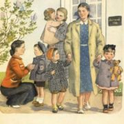Kindergarten on walk. 1953 book illustrations