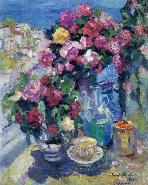 Konstantin Korovin. 1861-1939. Roses. 1916. Oil on canvas