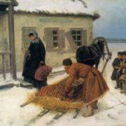 Konstantin Trutovsky. 1826-1893. The arrival of a new Teacher. 1885. Oil on canvas