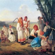 Lavr Plakhov. 1810-1881. Heymakers resting. 1840s. Oil on canvas