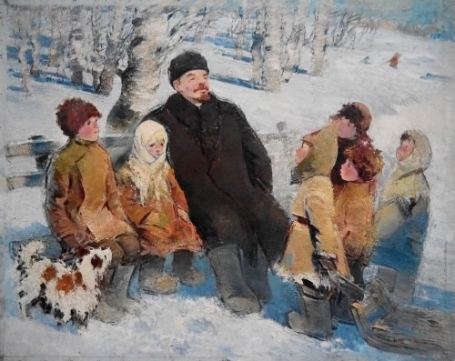Lenin among children. 1975. Oil on canvas