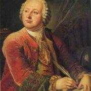 Leonty Miropolsky (Mitropolsky). 1749-1819. Portrait of Lomonosov. Repetition of a similarly entitled portrait (1785, Lomonosov museum, USSR Academy of Sciences, Leningrad). Oil on canvas