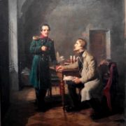 Meeting of V. Belinsky with Mikgail Lermontov. 1950. Oil, canvas