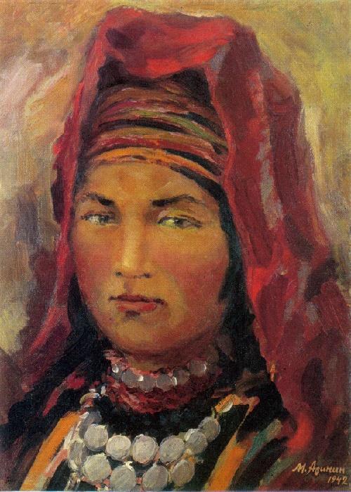 Mikhail Arinin. 1897-1967. Girl from the mountains of Uzbekistan. 1942. Oil on canvas