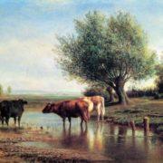 Mikhail Klodt. 1832-1902. Landscape with cows. 1870. Oil on canvas