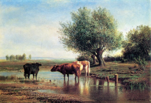 Mikhail Klodt. 1832-1902. Landscape with cows. 1870. Oil on canvas
