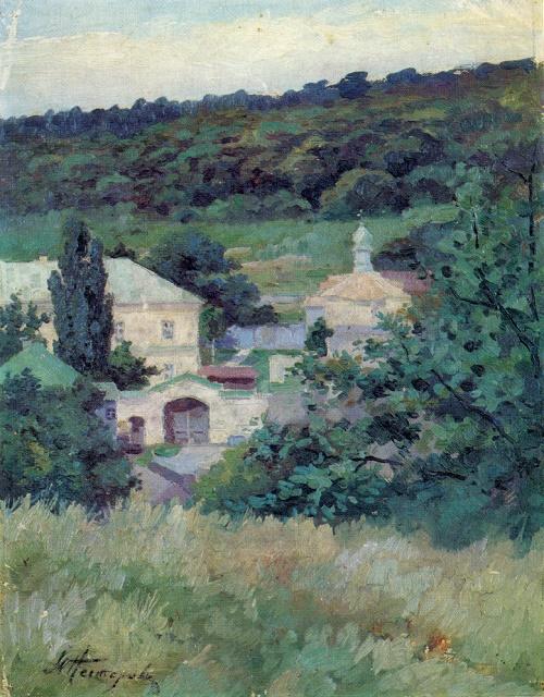 Mikhail Nesterov. 1862-1942. Landscape with a little church. Oil on canvas