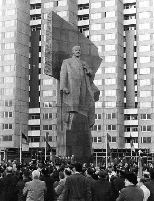 East Berlin, Germany, 1970. Work by Soviet sculptor Nikolai Tomsky (December 6, 1900 - November 22, 1984)