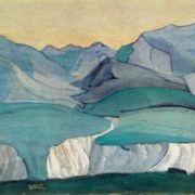 Nikolay Roerich. 1874-1947. The Caucasus (The blue mountains). Study. 1913. Gouache on cardboard