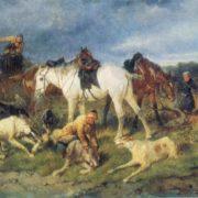Nikolay Sverchkov. 1817-1898. Hunting scene. 1871. Oil on canvas