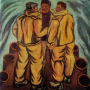 Oil workers. 1972. Oil on canvas. Property of art fond of the USSR Union of artists