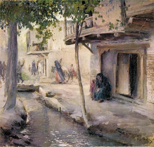 Pavel Benkov. 1879-1949. Scene of the past. 1944. Oil on canvas