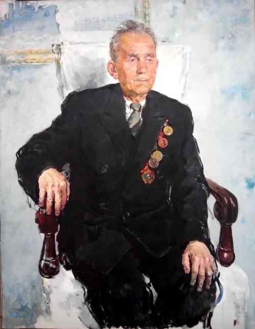 Portrait of veteran. Oil on canvas