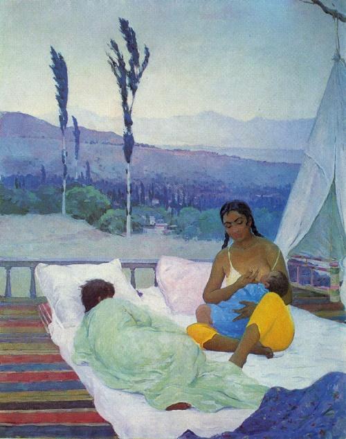 Rakhim Akhmedov. Born 1924. Motherhood. 1962. Oil on canvas