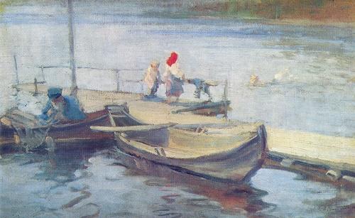 Sergey Vinogradov. 1869-1938. On the ferry. Oil on canvas