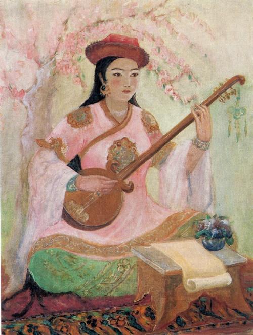 Shamsroi Khasanova. 1917-1956. Portrait of poetess Mutrova. 1947. Oil on canvas