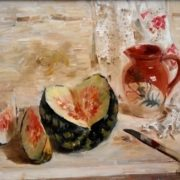 Still life with a water-melon. 1980. Oil on canvas