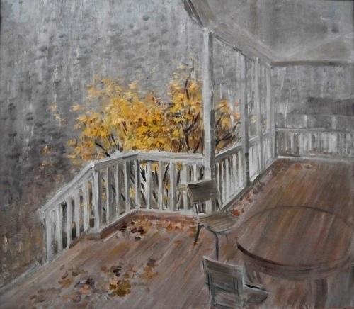 Terrace. Oil, canvas