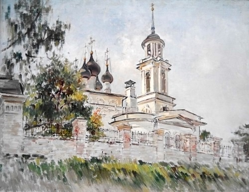 The Goncharov Church. Landscape of the city of Chekhov. 1981. Oil, canvas