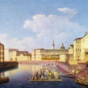 Unknown artist of the first half of the 19th century. View of the Fontanka in St. Petersburg. Oil on canvas