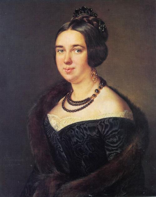 Vasily Tropinin. 1776-1857. Portrait of A. Obolenskaya. 1845. Oil on canvas