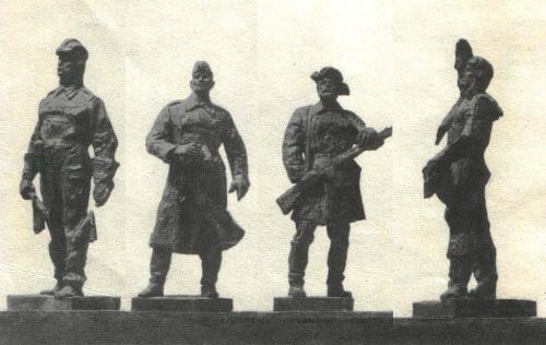 Works by Soviet sculptor Nikolay Tomsky