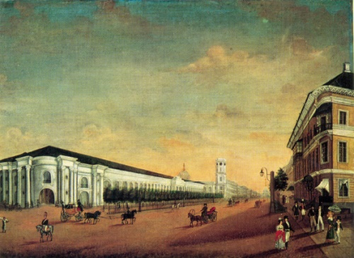 Yermolay Yesakov. 1790-1840. Gostiny Dvor (Warehouses) in St. Petersburg. Oil on canvas