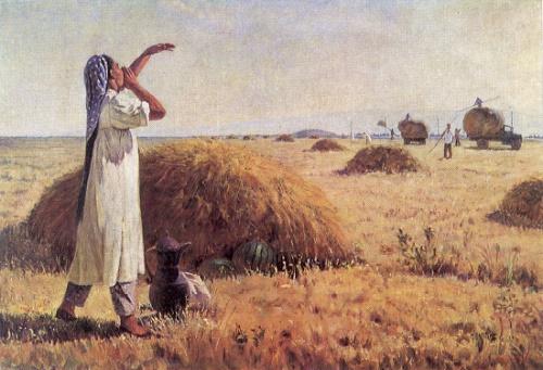 Zakir Inogamov. Born 1919. Girl calling to tea. 1957. Oil on canvas