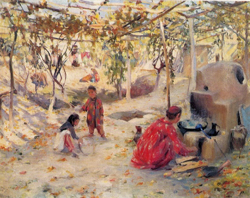 Zinaida Kovalevskaya. Born 1902. A Yard. 1947. Oil on canvas