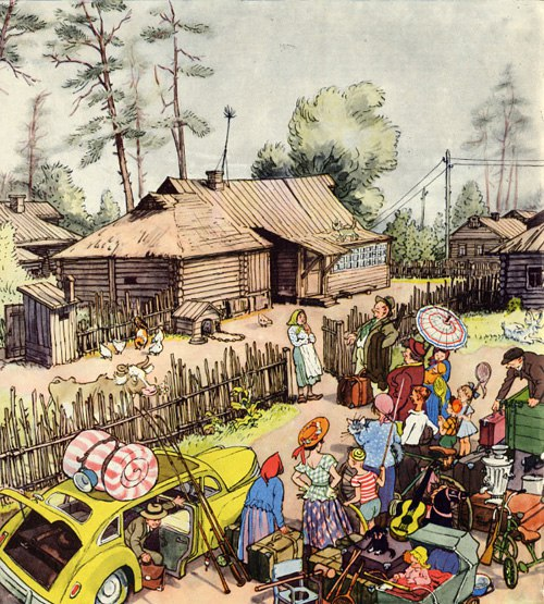 City dwellers visiting granny in the village. Caricature
