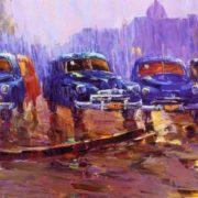 Evening. Taxi parking. 1958
