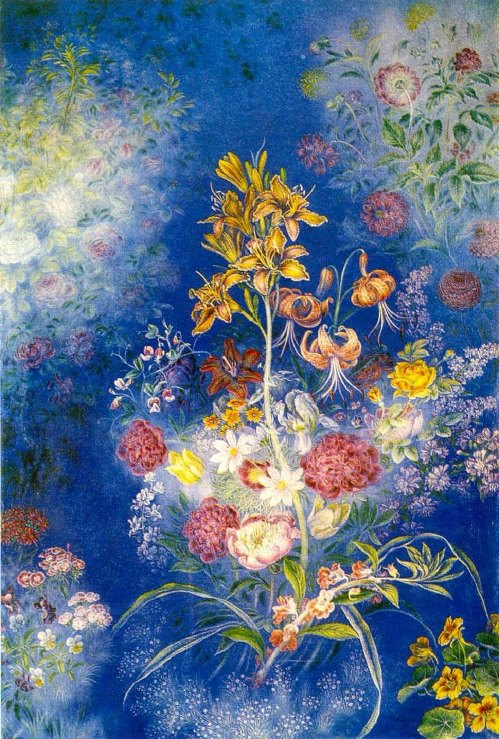 Flowers on a blue background in 1943
