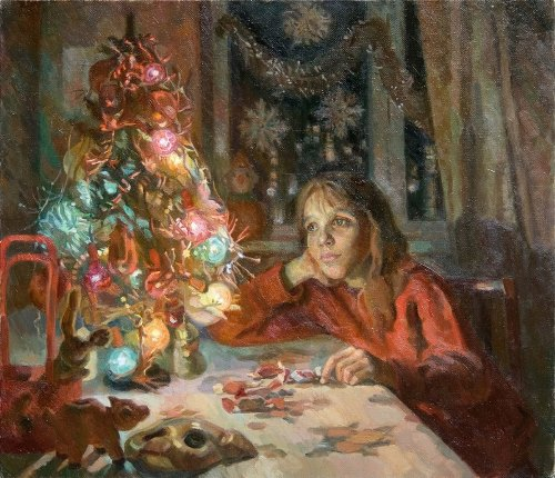 Maxim Tsagarev (b. 1951). At New Year tree. 1991