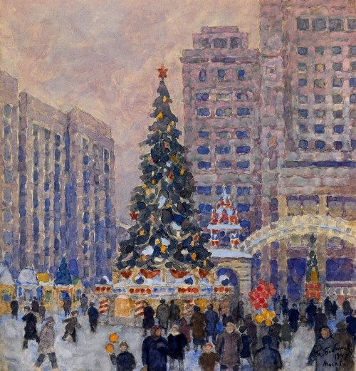 Mikhail Bobyshev. New Year tree on Manezhnaya square. 1947