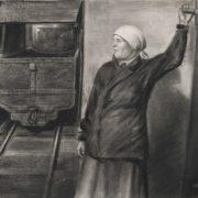 Mine worker. USSR, 1937. Socialist realism. Technique - paper, pencil, charcoal