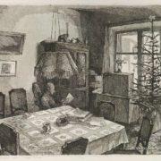 Nikita Rodionov (1947-1998). Interior with New Year tree. 1982
