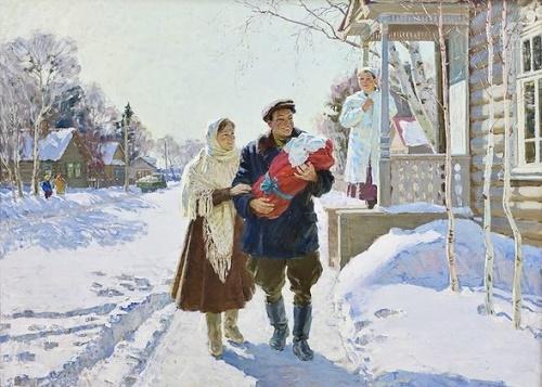 Firstborn. 1963. Oil on canvas. Painting by Soviet artist Nikolai Ovchinnikov (1918 - 2004)