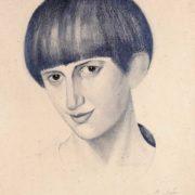 Portrait of a girl. Pencil, paper, 1922