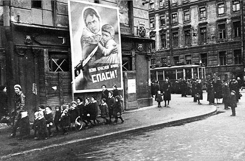 Taped crosswise windows of homes during the siege of Leningrad (WWII)