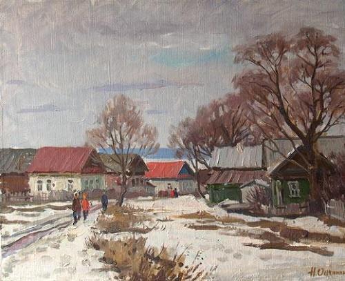 Winter in the village. 1993