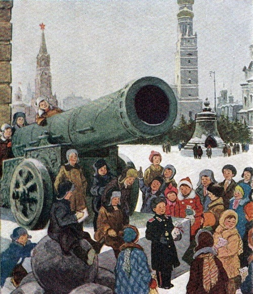 Younger visitors to the ancient Kremlin, 1955