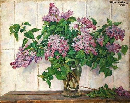Soviet Russian artist Pyotr Konchalovsky. 1952, Still life with lilac