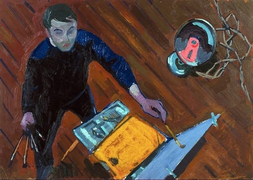 At work. Self-portrait. 1959