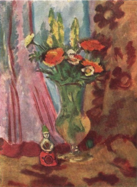 Bouquet and Vyatka toy. 1940 Paper on cardboard, oil